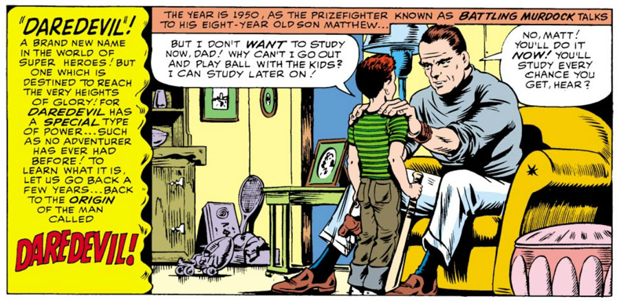Jack Murdock speaks to Matt, from Daredevil #1, by Stan Lee and Bill Everett