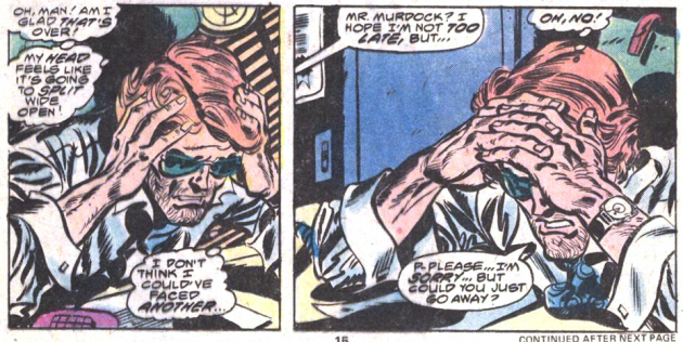 Matt hunched over his desk in pain, Daredevil #155