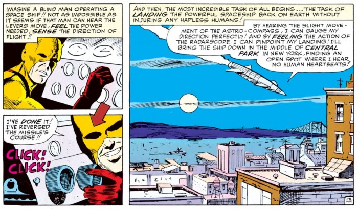 Daredevil lands a rocket, from Daredevil #2 by Stan Lee and Joe Orlando