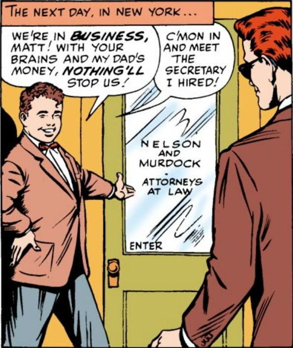 Foggy shows Matt the office, from Daredevil #1 by Stan Lee and Bill Everett