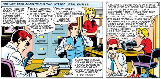 Karen in a panel from Daredevil #6, by Stan Lee and Wally Wood
