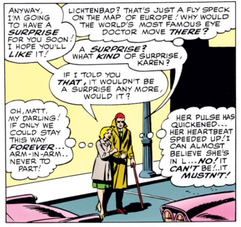 Karen and Matt in Daredevil #9, by Stan Lee, Wally Wood and Bob Powell