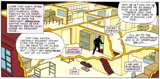 Panel showing Matt's apartment from Daredevil #8, by Stan Lee and Wally Wood