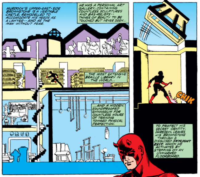 Panel showing Matt's apartment, from Daredevil #167, by David Michelinie and Frank Miller