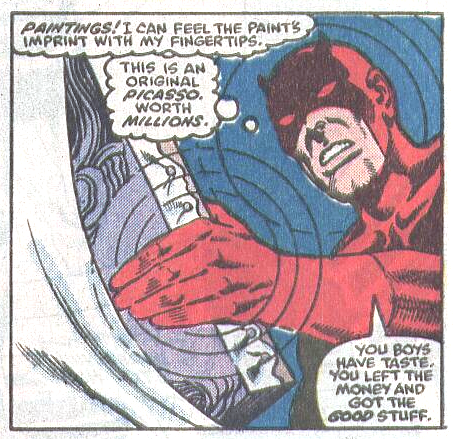 Daredevil determines the origin of a painting, from Daredevil #235