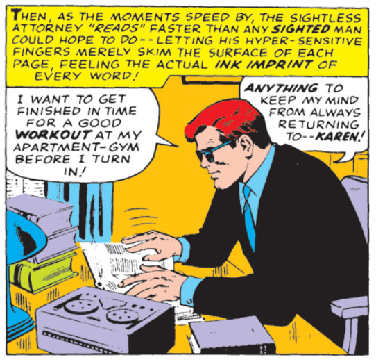 Matt reads print at super speed in Daredevil #15