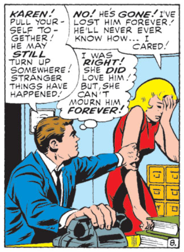 Karen breaks down at the news that Matt is missing, Daredevil #13