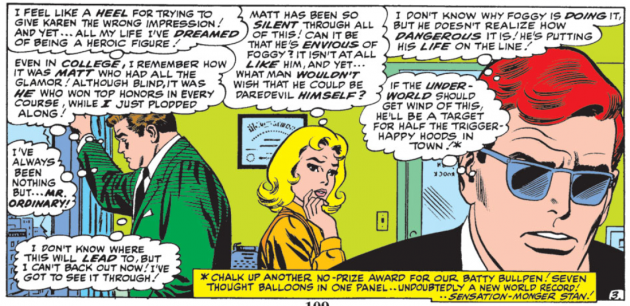 Stan Lee goes overboard in the thought balloon department, Daredevil #17
