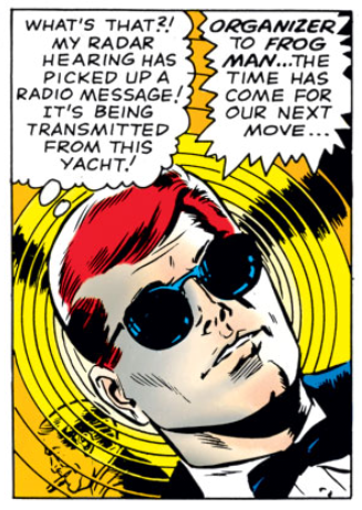 Matt perceives a radio signal directly, from Daredevil #10