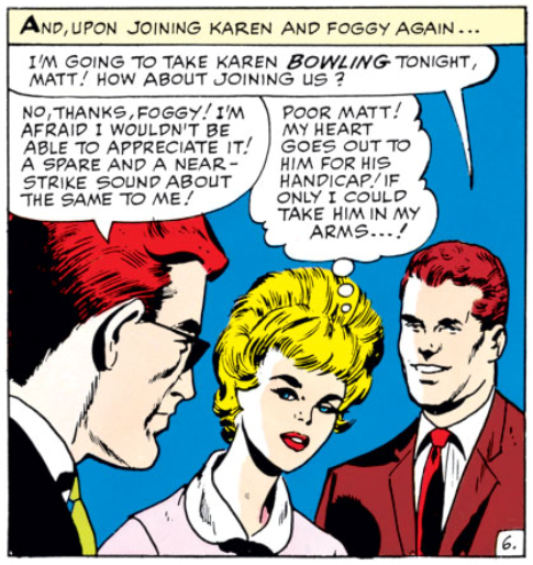Karen feeling sorry for Matt, Daredevil #2