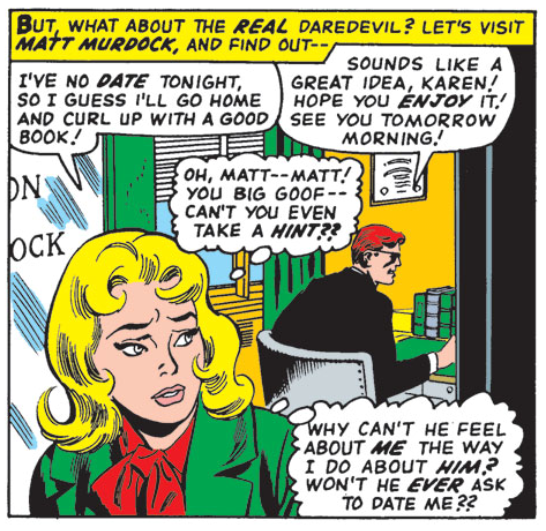 Karen leaves Matt at the office, disappointed, from Daredevil #16