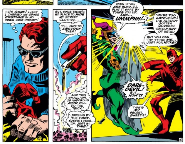 Matt Murdock gets rid of his business suit by pouring acid on it, from Daredevil #42