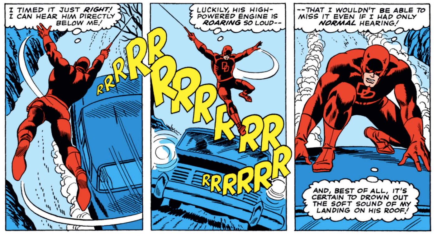 Daredevil swings down and lands on a car in Daredevil #14, apparently guided more by its sound than its shape.