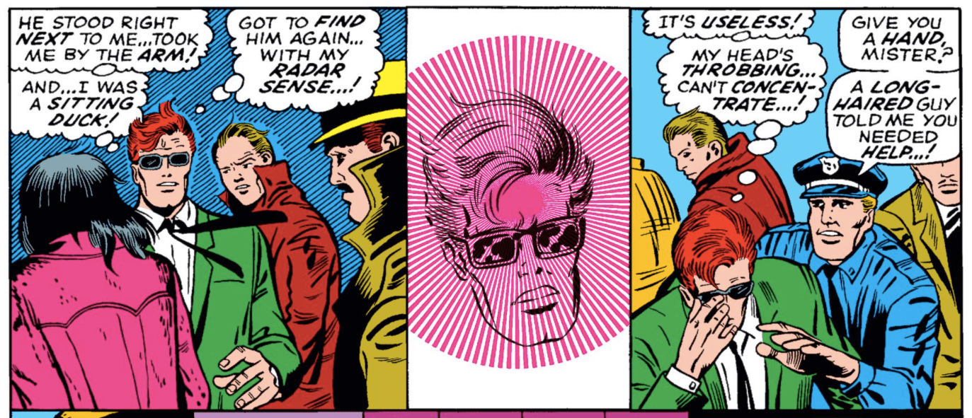 In Daredevil #51, Matt's head looks like it's either radiating something or is in the throes of a severe headache.