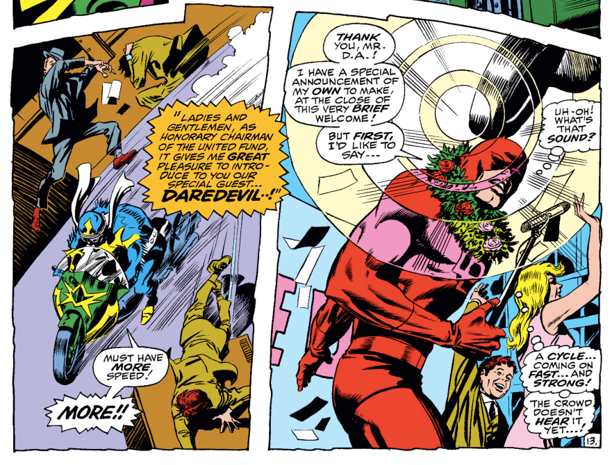 In Daredevil #58, Daredevil notices the sound of a motorcycle approaching. Some of the features of the bike are superimposed on the image of the radar rings emanating from his head.