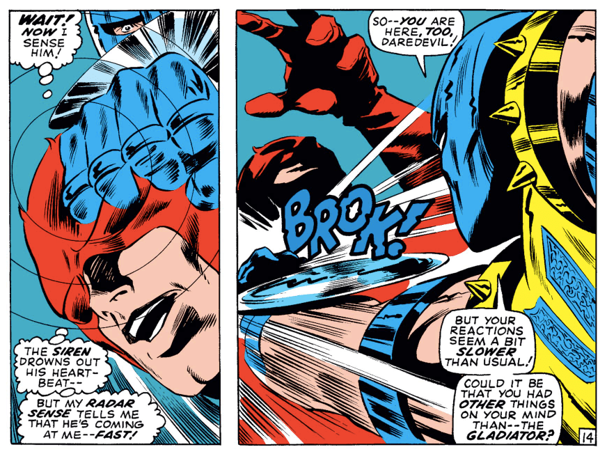 In Daredevil #63, Daredevil notices the Gladiator's blades coming toward him. They, and the Gladiator's fist are shown superimposed on Daredevil's head as if he's picturing them in his head.