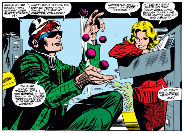 Karen watches while Mike juggles, from Daredevil #28