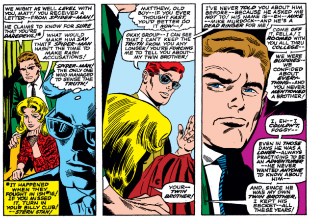 Matt makes up a twin brother on the fly, Daredevil #25