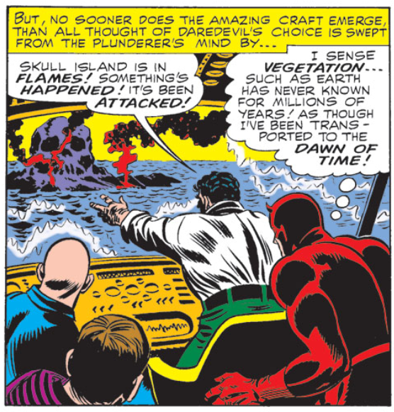Daredevil approaches a burning island, from Daredevil #12