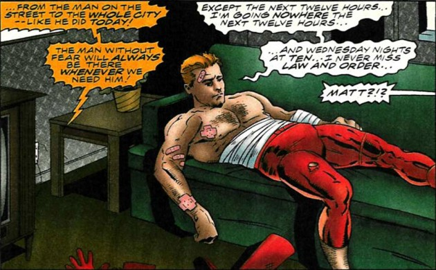 Matt on the couch watching Law &amp; Order, from Daredevil #360 by Karl Kesel and Cary Nord