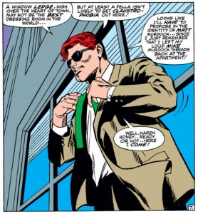 Matt, changes on a window ledge while deciding who to propose as, from Daredevil #29