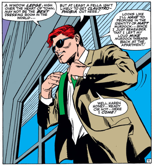 Matt, sporting his classic Colan hair do, changes on a window ledge, from Daredevil #29