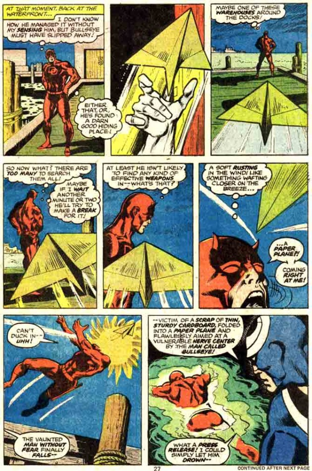 Daredevil is hit by a paper plane