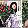 Milla gets flowers and a card in braille, panel from Daredevil #41, by Bendis and Maleev