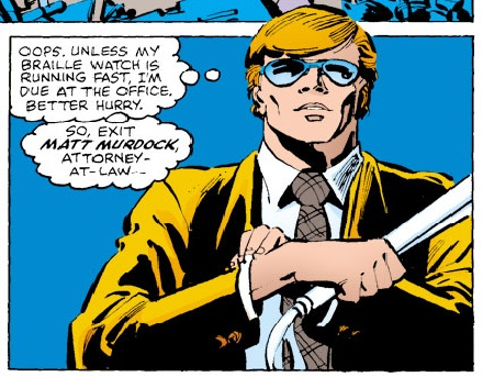 Matt checks his braille watch, from Daredevil #173 by Frank Miller