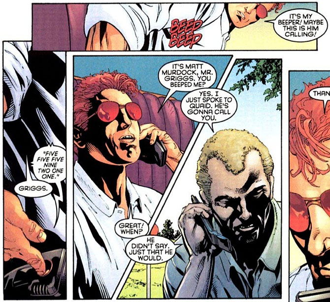 Panel from Daredevil #24, volume 2, by Bob Gale, with art by Dave Ross and Mark Pennington