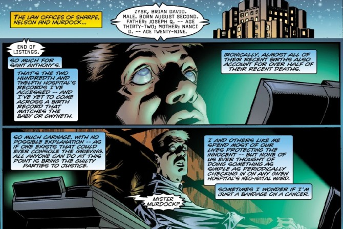 Panels from Daredevil #2, volume 2, by Kevin Smith and Joe Quesada