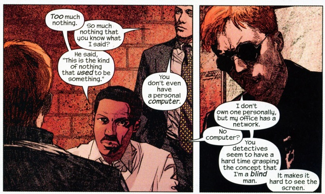 Panel from Daredevil #44, volume 2, by Brian Michael Bendis and Alex Maleev. 1 of 2