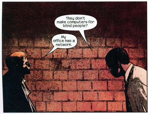 Panel from Daredevil #44, volume 2, by Brian Michael Bendis and Alex Maleev. 2 of 2