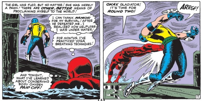 Panel from Daredevil #18, volume 1, by Stan Lee and John Romita