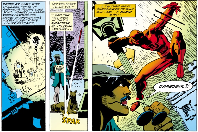 Panel from Daredevil #168, with script and art by Frank Miller