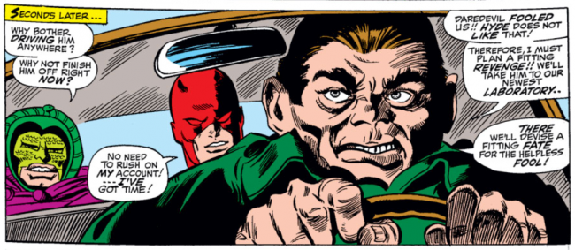 Panel from Daredevil #32, volume 1,  by Stan Lee and Gene Colan