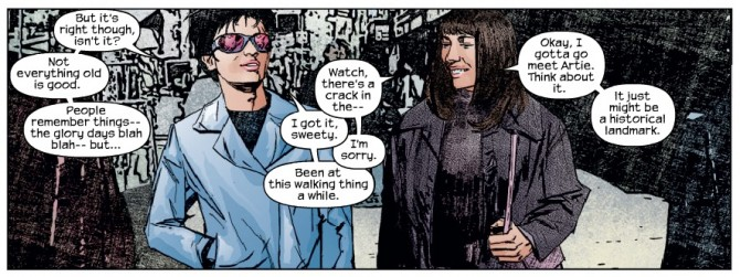 Panel from Daredevil #41, volume 2, by Brian Michael Bendis and Alex Maleev