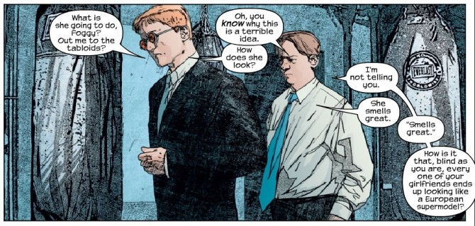 Panel from Daredevil #43, volume 2, by Bendis and Maleev