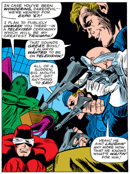 Daredevil is in a tight spot in Daredevil #34, by Stan Lee and Gene Colan