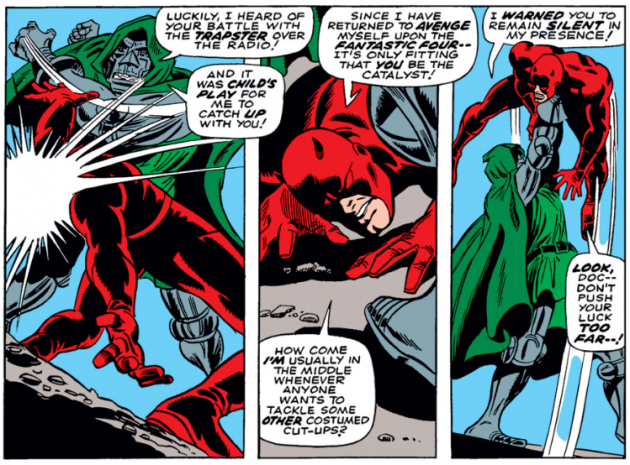Daredevil versus Dr Doom, panel 1, from Daredevil #37