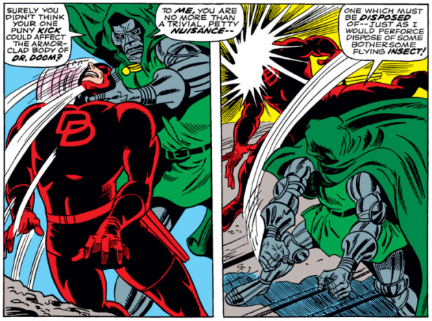 Daredevil versus Dr Doom, panel 2, from Daredevil #37