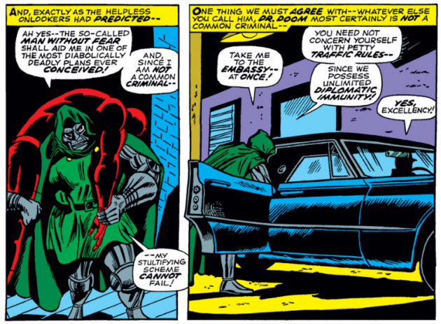 Daredevil versus Dr Doom, panel 3, from Daredevil #37