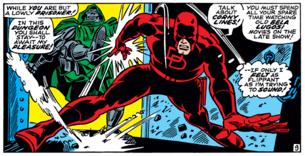 Daredevil versus Dr Doom, panel 4, from Daredevil #37
