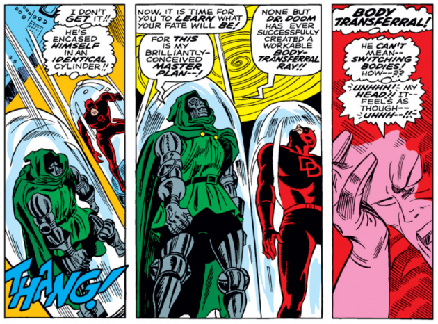 Daredevil versus Dr Doom, panel 6, from Daredevil #37