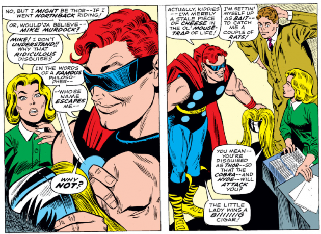 Daredevil enters through the window, dressed as Thor, Daredevil #30