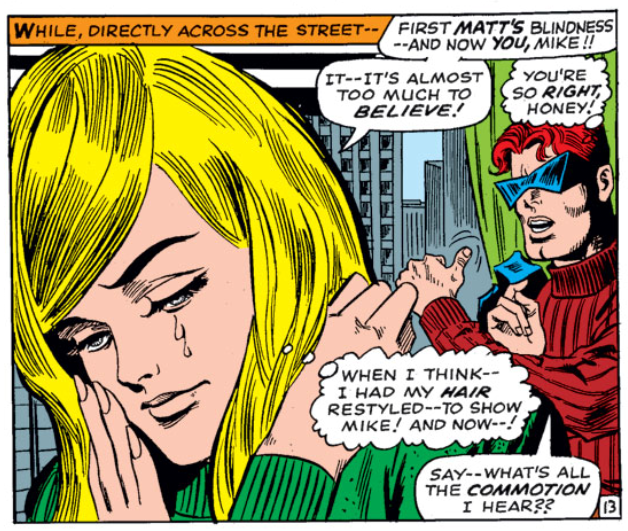 Karen Page grieves not being able to show Mike her hair, Daredevil #31