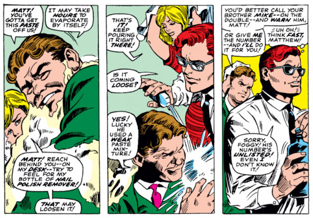 Matt douses Foggy in aceton and dodges questions, from Daredevil #35
