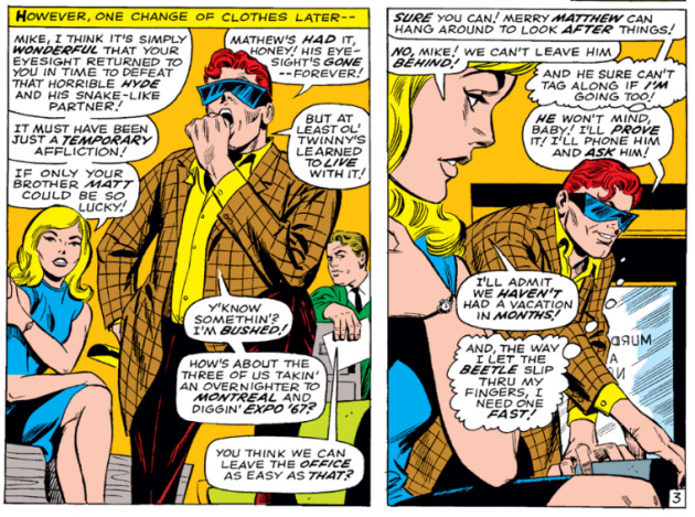 Mike suggests a trip to the 1967 Expo in Montreal, Daredevil #33