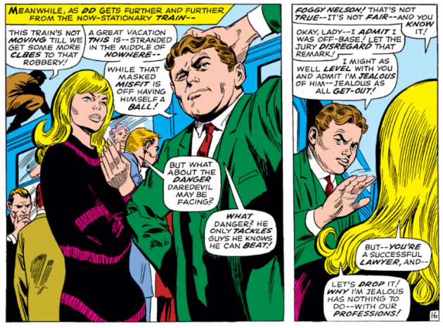 Foggy and Karen stranded on the way to Montreal, Daredevil #33