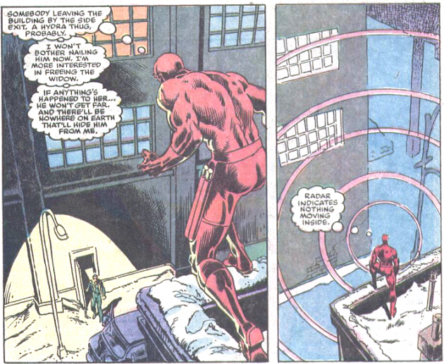 Radar image, from Daredvil #207, by Denny O'Neil and William Johnson